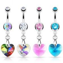 Köldök piercing - cirkónia szív, többféle színben