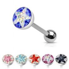 Nyelv piercing - színes cirkóniák, csillag mintázat