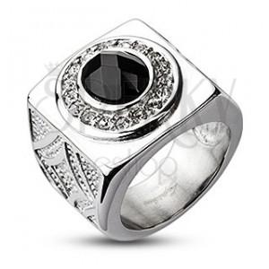Hatalmas acél gyűrű - csiszolt ónix szem