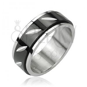 Acél gyűrű, elfordítható fekete középső rész - bemarások