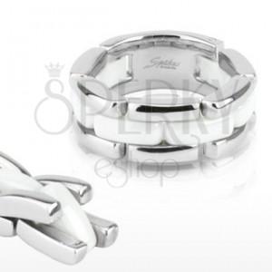 Háromsoros acél gyűrű - fehér kerámia sáv, flexibilis