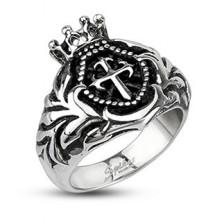 Méretes gyűrű acélból - királyi korona, kereszt