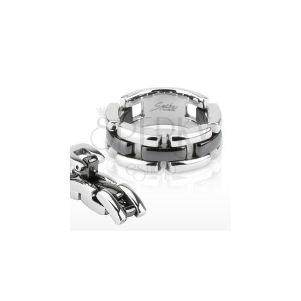 Fekete - ezüst színű tagolt gyűrű, háromsoros