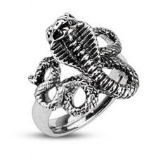Patinás acél gyűrű - mérges kobra