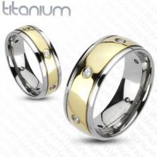 Cirkóniaköves titánium gyűrű, kétszínű