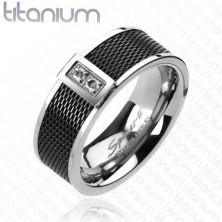 Titánium gyűrű - fekete hálós minta, két áttetsző cirkónia