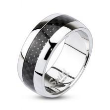 Gyűrű sebészeti acélból - fekete pepita minta