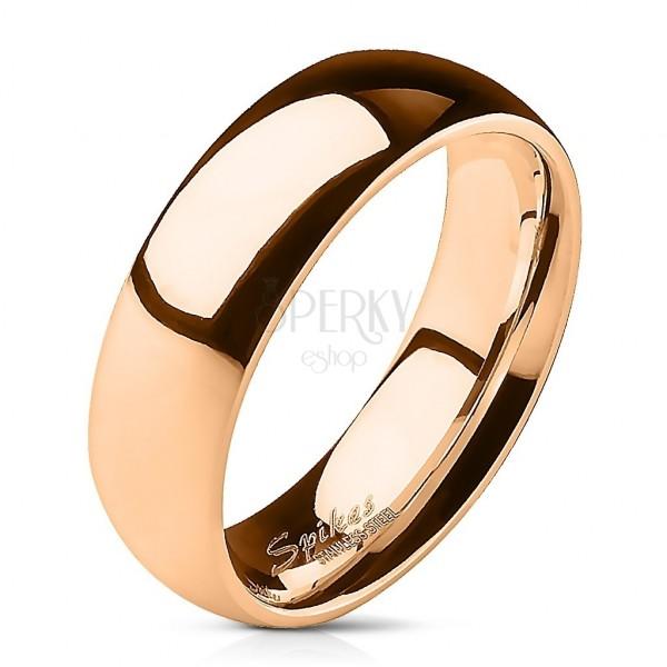 Acél karikagyűrű rózsaszín arany színben - 6 mm