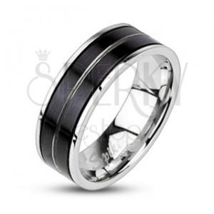 Nemesacél gyűrű - fekete szín, gravírozott vonal