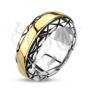 Acél gyűrű - aranyozott középső sáv, mintás szélek