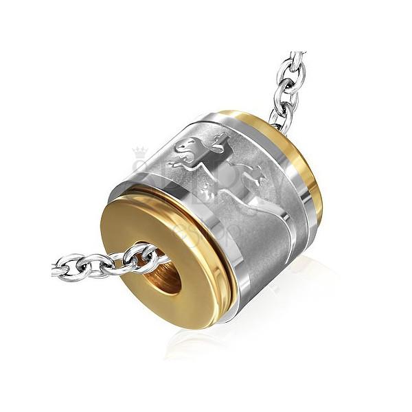 Acél medál - gyík motívumos forgatható gyűrű