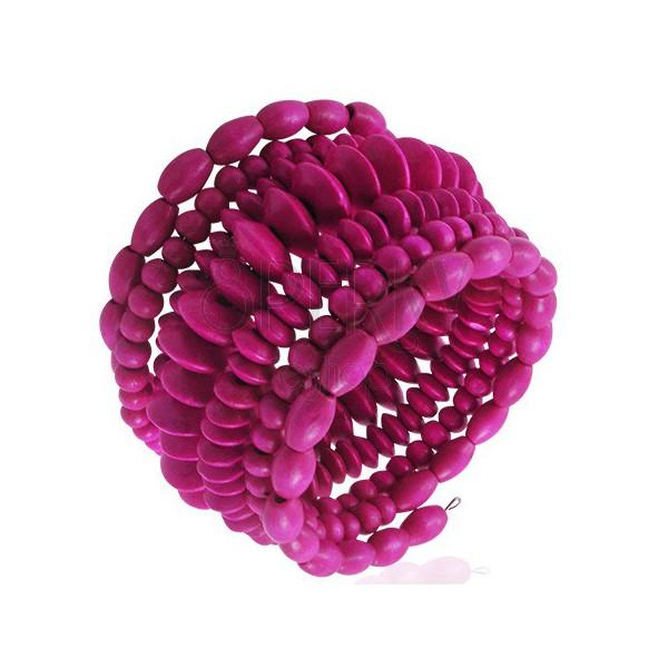 Fából készült spirálos karperec gyöngyökből - rózsaszín