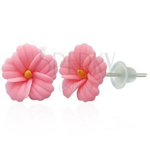 FIMO fülbevaló - rózsaszín százszorszép