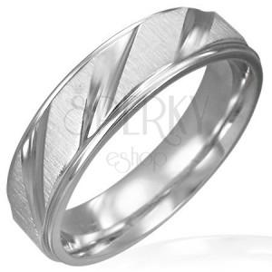 Sebészeti acél gyűrű - fényes bemart vonalak