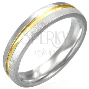 Nemesacél gyűrű - arany sáv, fényes és matt részek