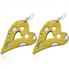 Asszimetrikus szívecskés fülbevaló - sárga