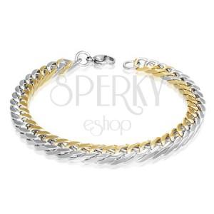 Orvosi fém karkötő - ovális arany és ezüst láncszemek, 7 mm