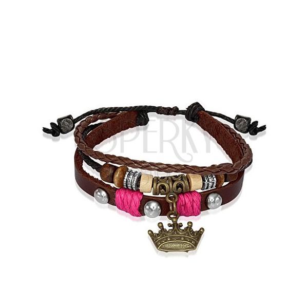 Bőrkarkötő - fa gyöngyök, királyi korona, rózsaszín fonalak