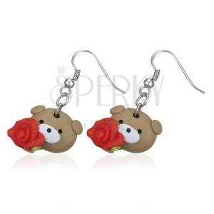 Fimo fülbevaló - mackó és vörös rózsa