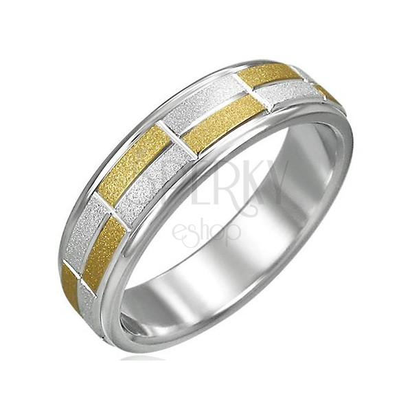 Kétszínű gyűrű, szemcsés téglalapok