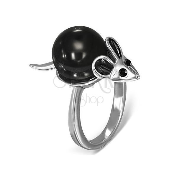 Minőségi acél gyűrű - fekete és ezüst egérke