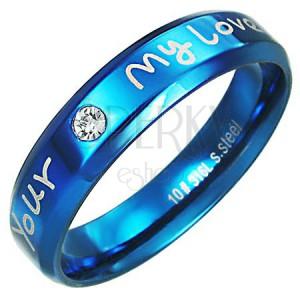 Orvosi fém gyűrű - kék szín, szerelmes felirat
