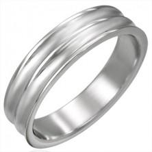 Gyűrű sebészeti acélból - két ívelt sáv