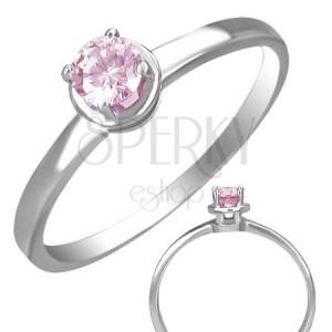 Gyűrű acélból - beágyazott rózsaszín cirkónia