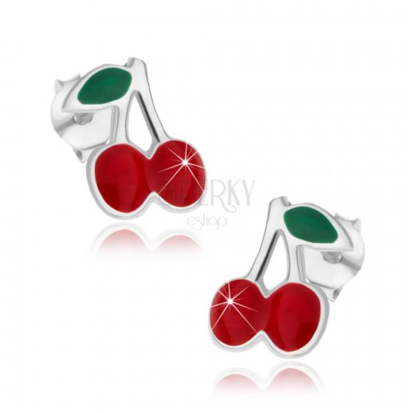 Ezüst 925 fülbevaló - cseresznye levéllel