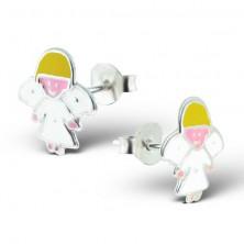 Sterling ezüst 925 fülbevaló - fehér angyal szárnyakkal