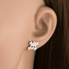 Ezüst 925 fülbevaló - fehér koponya masnival
