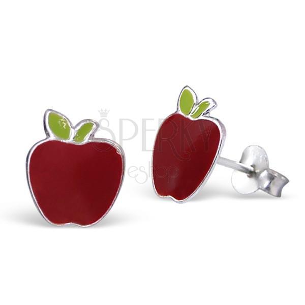925-ös ezüst fülbevaló, piros alma fejecskével