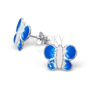 Ezüst 925 fülbevaló - kék és fehér pillangó