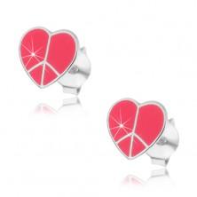 Sterling ezüst fülbevaló - rózsaszín Peace szívecske