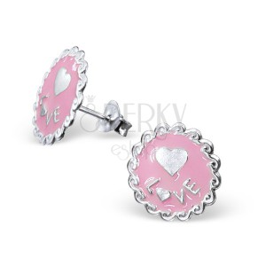Sterling ezüst 925 fülbevaló - díszes körlap és szív, rózsaszín