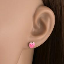 925 ezüst fülbevaló - rózsaszín szív pöttyökkel