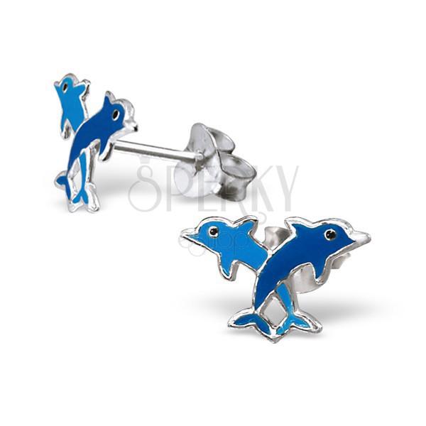 Sterling ezüst fülbevaló - színes delfinek