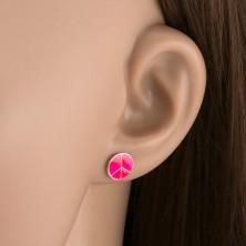 Sterling ezüst fülbevaló - rózsaszín Peace körlap