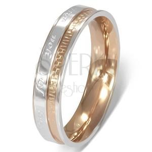 Gyűrű sebészeti acélból - romantikus felirat, két színben
