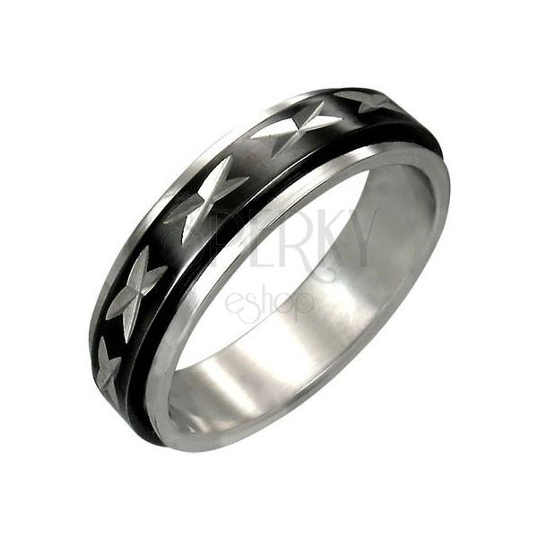 Acél gyűrű - forgatható középső sáv, bemart x motívumok