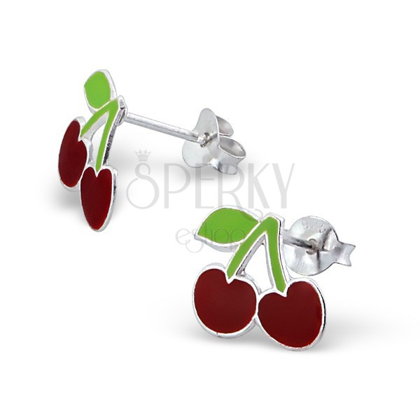 Ezüst 925 fülbevaló cseresznyével