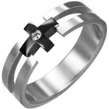 Gyűrű acélból - fekete kereszt, tiszta cirkónia