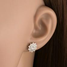 Ezüst 925 fülbevaló - szürke virág cirkóniával