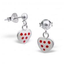 Sterling ezüst fülbevaló - fehér, pöttyös szív