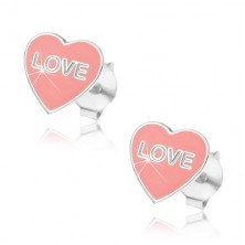 Ezüst 925 fülbevaló - rózsaszín LOVE szív