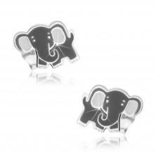 Gyermek sterling ezüst fülbevaló - szürke elefánt