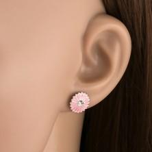 Fülbevaló 925 - ös ezüstből, rózsaszín virág cirkóniával
