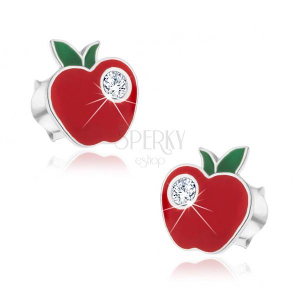 Beszúrós 925 ezüst fülbevaló - cirkóniaköves alma