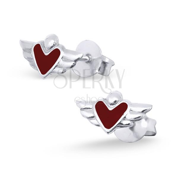 Ezüst fülbevalók 925 - szárnyas szívek