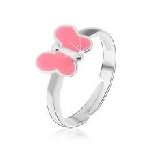 Gyermek gyűrű, 925 - ös ezüst, rózsaszín pillangó